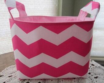 Fabric Organizer Basket Storage Container Chevron Pink with White Zig Zag Bin