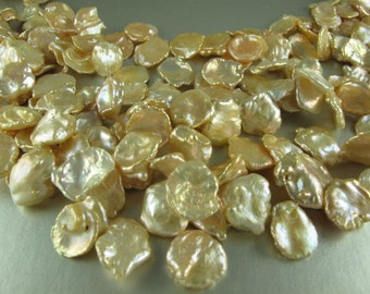 Cornflake Pearls, Peach Keishi Pearls, 11x16 to15x20mm, Large Top Drilled, 5 Loose Pearls (P049)