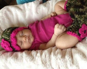 Baby Girl Set Hat and Boots Camo and Pink Coming Home Outfit Sizes 0 to 12 months