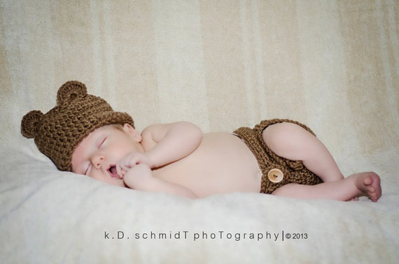 Baby Bear Outfit, Hat And Diaper Cover Set, Hat with Ears, Nappy Cover, Brown, Newborn to 12 months