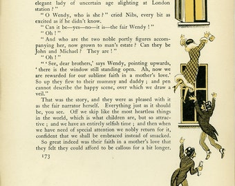 Peter Pan Vintage Print 1931, Illustrated Page from Wendy's Story, Neverland, Frameable Art, Nursery, J M Barrie, Children, Hudson