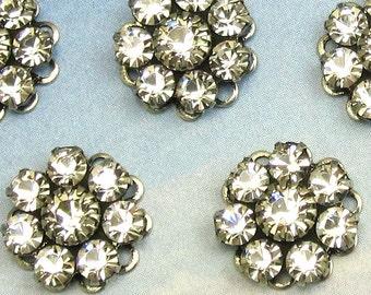 Rhinestone Bead Swarovski Clear Crystal rhinestone flower in antique silver setting