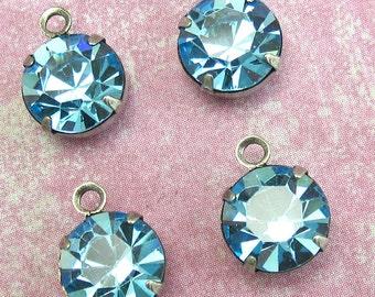 Aqua crystal drop 4 pcs 9 mm Blue Crystal Bead Swarovski rhinestone silver setting One Loop D-12