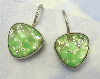 Vintage Glass Green and Gold Fire Opal Earrings set in Sterling Silver 381
