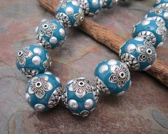 1 PC Bollywood Blue Teal Focal Bead Ball