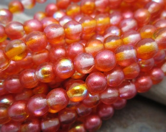 Orange AB Druk 6mm Czech Galss Beads, Dream Girl Beads