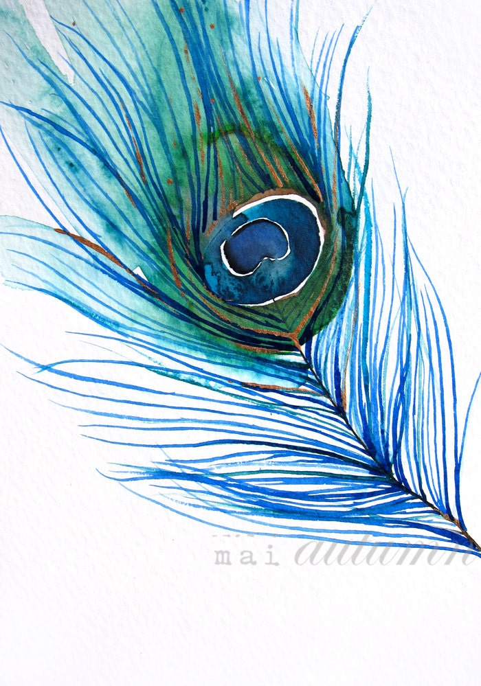 40% Off SALE Feather Watercolor Peacock Feather I by MaiAutumn