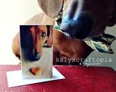 BLANK inside Itty Bitty Tiny Card - Love U Dachshund Heart Snackie