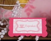 Tea Party Theme Menu Cards - Food Tents -  Place Cards - Food Signs - Tea Party Birthday Party Decorations in Hot & Light Pink (6)