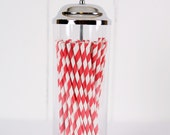 Paper Straws - Made in the USA - Red and White Striped - 25 Drinking Straws