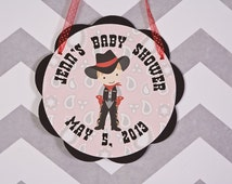Cowboy Theme Baby Shower Door Hanger Party Sign - Cowboy Baby Shower Decorations in Red & Black