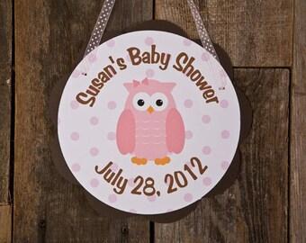 Owl Door Hanger Party Sign - Owl Baby Shower Decorations in Pink & Brown