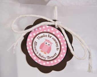 Owl Theme Favor Tags - Pink Owl Baby Shower Decorations in Pink and Brown (12)