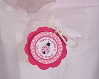 Ladybug Themed FAVOR TAGS, Ladybug Baby Shower Decorations, Thank You Tags, Gift Tags, Hang Tags in Hot & Light Pink