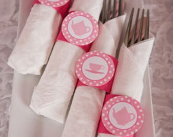 Tea Party Birthday Party - Napkin Rings - Silverware Wraps - Tea Party Decorations in Hot & Light Pink (12)