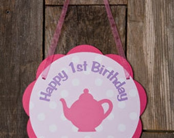 Pink Tea Party Birthday Party Decoration, Teapot Theme Door Sign in Hot Pink and Purple