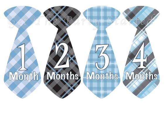Baby Month Stickers Baby Monthly Onesie Stickers Blue Black Plaid Preppy Boy Tie Month Onesie Stickers Baby Shower Gift Photo Prop Dylan