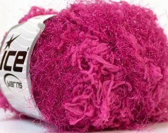 ice yarns sweet fuchsia PINK shimmering metallic lurex blend eyelash type yarn skein 50gr bulky chunky knitting crochet 24087