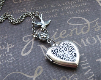 Silver Heart Scent Locket Necklace- Enchanted  Love Bird - Jewelry by TheEnchantedLocket - SWEET Birthday Daughter Wedding Christmas Gift