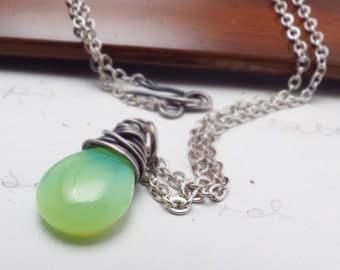 Green Necklace Czech Glass Oxidized Silver Wire Wrapped Pendant