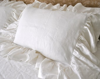 White Linen Floppy Ruffle Pillow