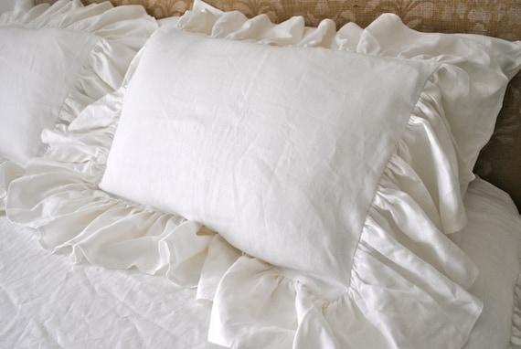 White Linen Floppy Ruffle Pillow