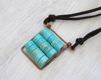 Abacus Pendant Turquoise pendant Rectangle pendant Blue pendant Steampunk pendant
