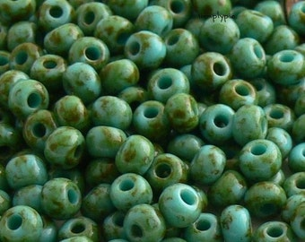 6/0 Czech Glass Seed Beads Green Turquoise Picasso 10-Grams