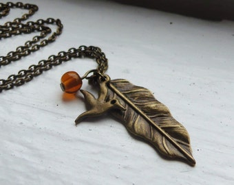 Feather and Bird Necklace. Nature Inspired Necklace. Vintage Inspired Necklace. Antique Bronze. Amber Topaz Necklace