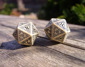 D20 steampunk dice cufflinks geek nerd rpg gamers wedding mens accessory business wear for men beige brown bronze neo victorian die