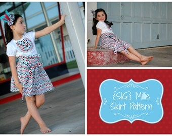 "INSTANT Download SIG Millie Skirt Pattern eBook - Tween Youth size 6 to 14 & 18"" Doll"
