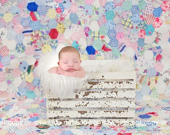Newborn Baby Photography Prop Digital Backdrop for Photographers Vintage Quilt