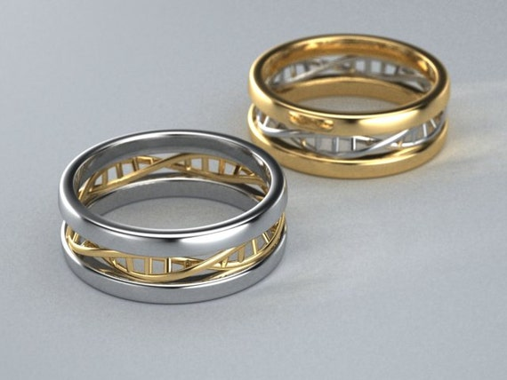 10K Two tone Gold DNA Ring