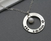 Sterling Silver Washer Necklace - Personalized Bridal Gift - Simple Customized Handstamped Gift - Freshwater Pearl