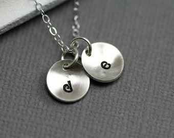 Mom Necklace - Silver Initial Necklace - Initial Disc Necklace - Silver Charm Necklace - Letter Necklace - Christmas Gift- Bridesmaid Gift