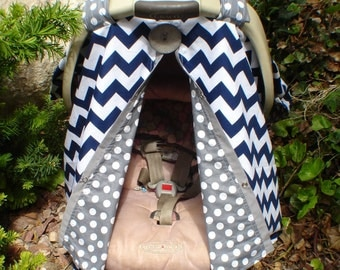 Carseat canopy FREE SHIPPING  Navy Blue and Grey / Car seat cover / car seat canopy / carseat cover / carseat canopy / nursing cover
