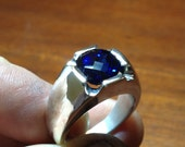 Mens Stunning Antique Cushion Checkerboard Cut Sapphire Ring in Solid Sterling Silver