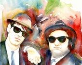 The Blues Brothers, Art Print, Watercolor Painting, John Belushi, custom watercolor portrait, free shipping