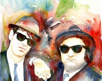 The Blues Brothers, Art Print, Watercolor Painting, John Belushi, custom watercolor portrait, watercolor art, original art, gift for him