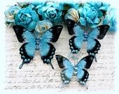 Tropical Blue Glitter Glass Butterflies for Scrapbooking,Cardmaking, Altered Art, Tag Art, Mixed Media
