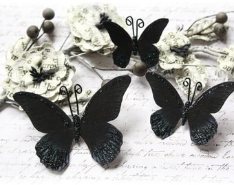 Obsidian Butterfly Die Cut Embellishments for Scrapbooking, Cardmaking, Tag Art, Mixed Media, Wedding