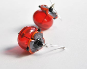 Flower Earrings, Red Earrings, Hollow Blown Glass Earrings, Light Weight Earrings, Purple Orange Earrings, Beaded Earrings
