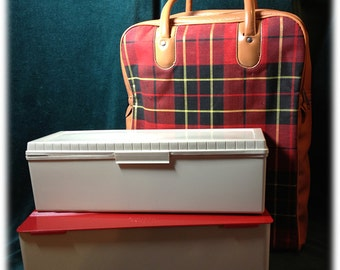 Vintage Thermos Brand Sandwich Keepers Storage in Tartan Plaid Carrying Case Caddy Picnic Set