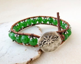 SALE, Bracelet, Leather Wrap, Green, Quartz, Silver, Button, Boho, Zen, Casual, Leather Jewelry, Gift for Her, Gift for Woman, Gift for Teen