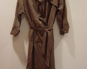 vintage 80s perfect trench coat petite xs