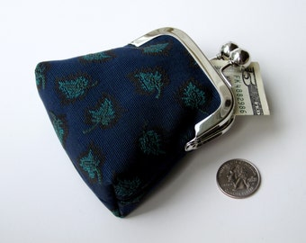 Navy blue woven leaf tapestry coin purse...small womens travel money jewelry Rx or key purse...green teal turquoise navy black...ON SALE