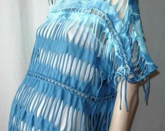 womens shredded tshirt. braided shredded t shirt. blue tiedye. oversized  SMALL MEDIUM. bubble tshirt