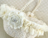 Flower Girl Basket, Wedding, Ivory, Cream, White, Lace, Crystals, Pearls, Round, Elegant, Vintage Style, Gatsby