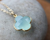 Gold Blue Chalcedony Clover Necklace - 14Kt Gold Fill - Charm Necklace