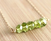 Gold August Green Peridot Necklace - 14K Gold Fill - August Birthstone